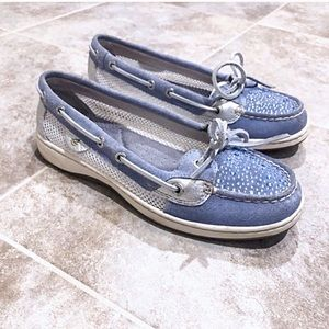 Sperry Top Siders blue leather sparkles loafers